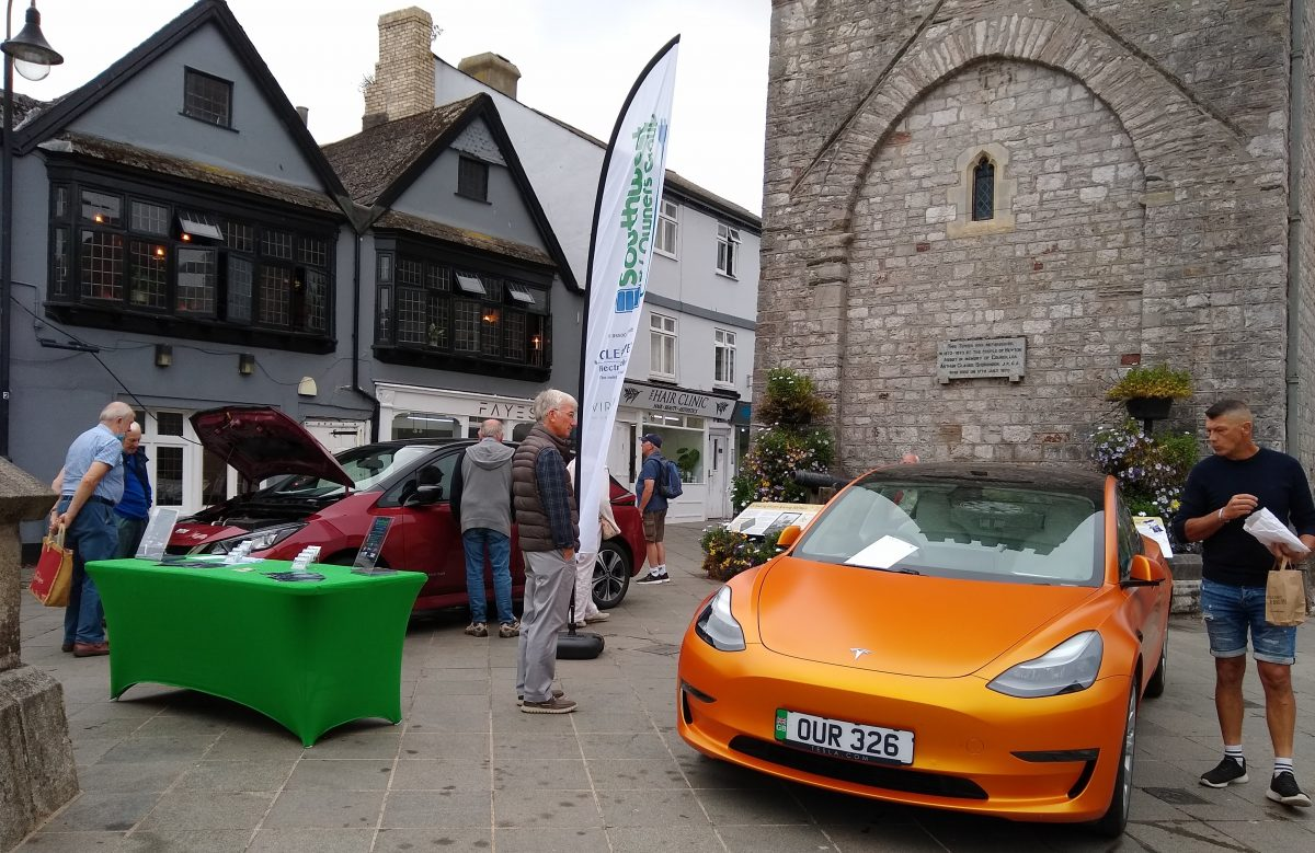 Electric cars line up in Newton Abbot